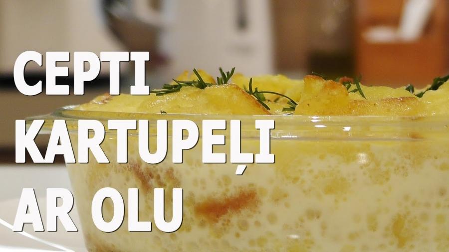 Cepeškrāsnī cepti kartupeļi ar olu